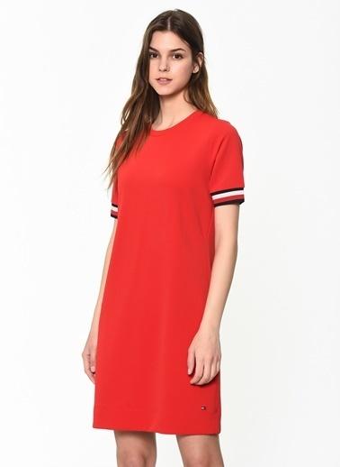 Tommy Hilfiger Kadın Thea C-Nk Dress Ss Elbise WW0WW24579 Kırmızı